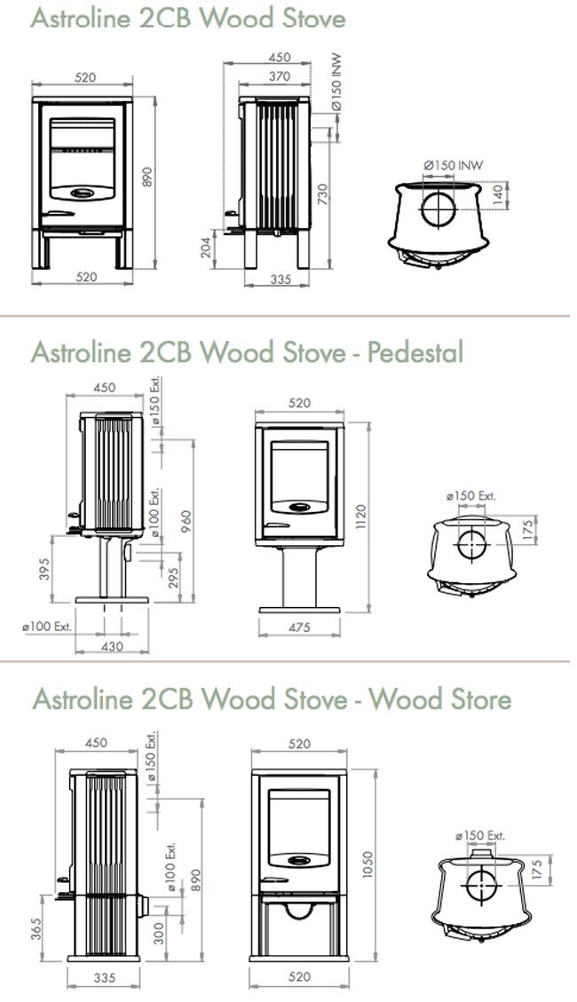 Dovre Astroline 2CB Wood Burning Stove Dimensions