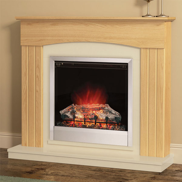Modern Electric Fire Suites Part - 38: Be Modern Linmere Electric Fireplace Suite - Natural Oak