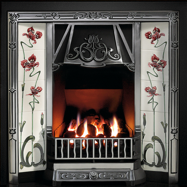 Gallery toulouse cast iron tiled fireplace insert flames for Fireplace insert options