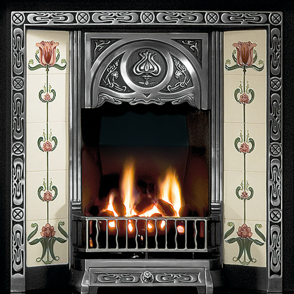 Gallery Tulip Cast Iron Tiled Fireplace Insert Flames Co Uk