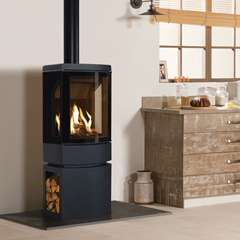 Gazco Loft Gas Stove with Steel log store