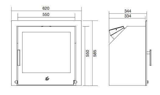 ACR Tenbury T550 Inset Stove Dimensions