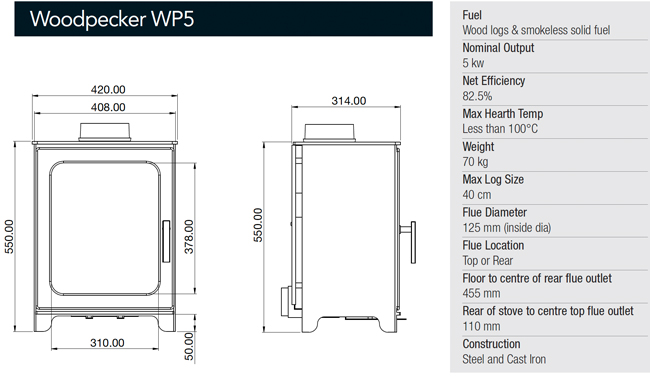 Woodpecker Stoves WP5 Dimensions
