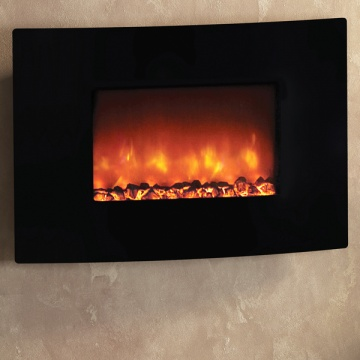Be Modern Orlando Curved Black Glass Electric Fire