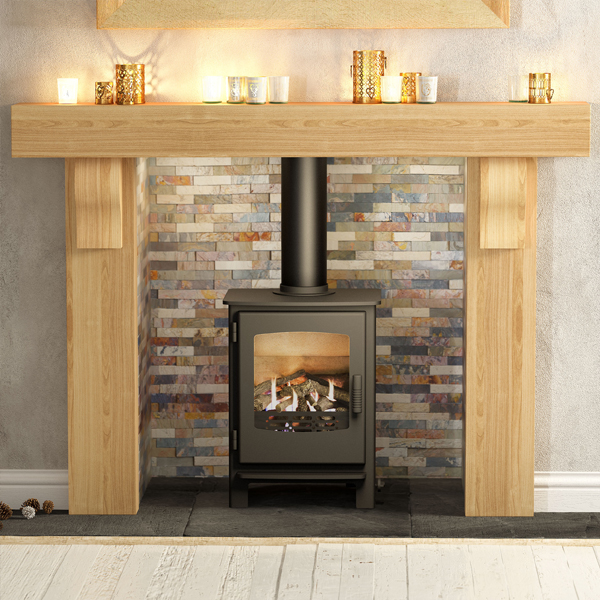Be modern elicot solid oak fireplace surround for Large modern fireplaces