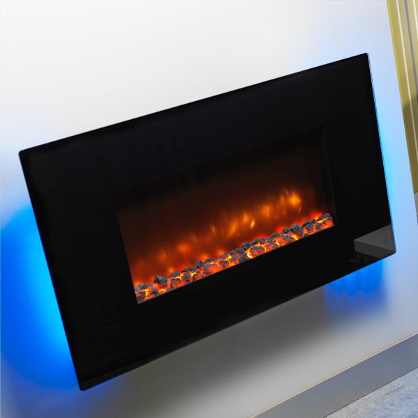 Be Modern Orlando Flat Black Glass Electric Fire Flames