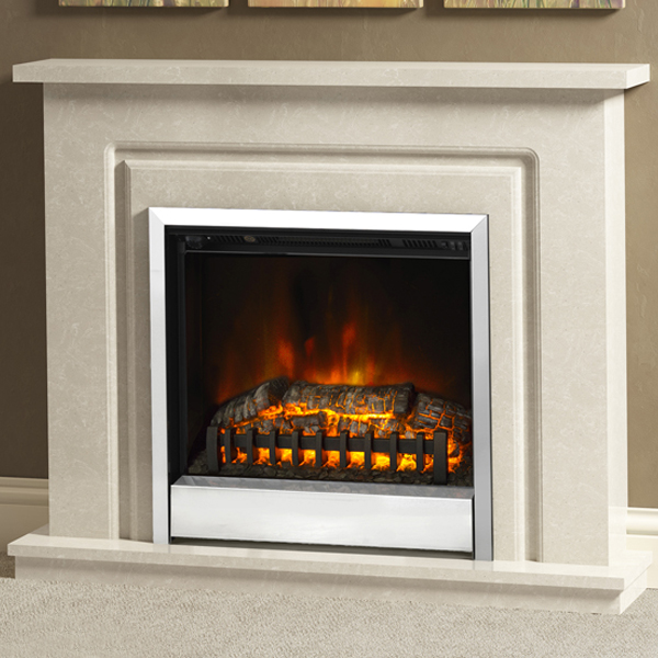 Be modern 39 plus 39 temperley marble electric fireplace suite for Large modern fireplaces