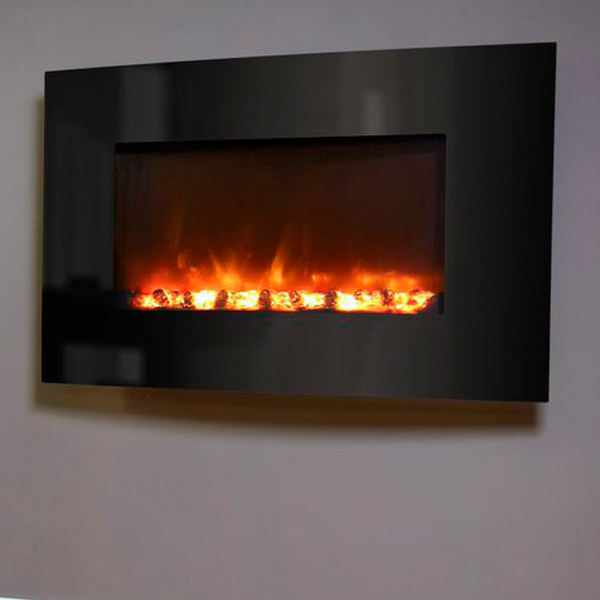 Celsi electriflame xd curved black glass wall mounted for Choosing a fireplace