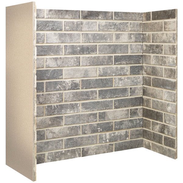 Gallery Grey Ceramic Brick Bond Fireplace Chamber Panels Flames Co Uk